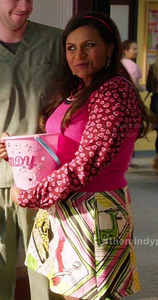 Mindy's pink heart print shirt and printed skirt on The Mindy Project