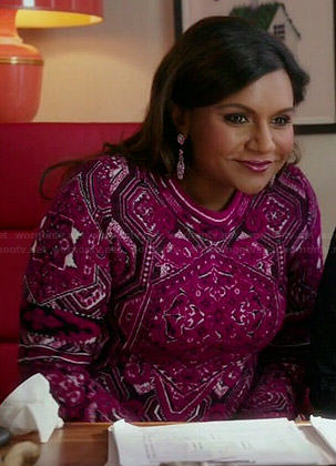 Mindy's pink printed long sleeved dress on The Mindy Project