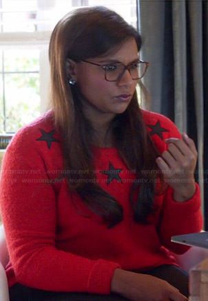 Mindy's red star sweater on The Mindy Project