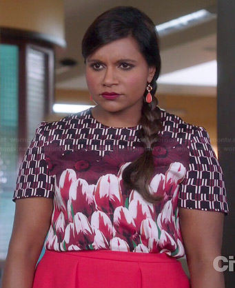 Mindy's tulip print top on The Mindy Project