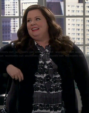 Molly's black and white lace printed neck-tie blouse on Mike and Molly