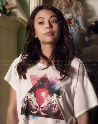 Mona's triangle and tigers graphic tee on Pretty Little Liars
