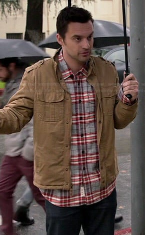 Nick's grey and orange plaid shirt and tan jacket on New Girl