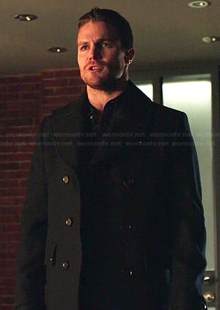 Oliver's navy pea coat on Arrow