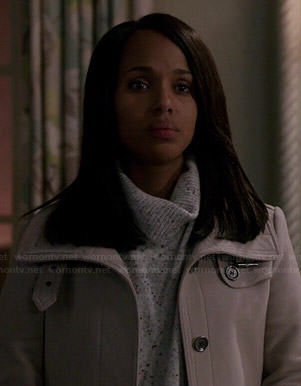 Olivia's grey coat and speckled turtleneck sweater on Scandal