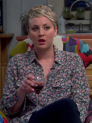 Penny's floral button down shirt on The Big Bang Theory