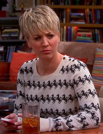Penny's horse print sweater on The Big Bang Theory