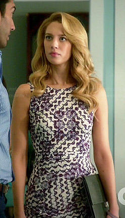Petra's purple printed and draped dress on Jane the Virgin