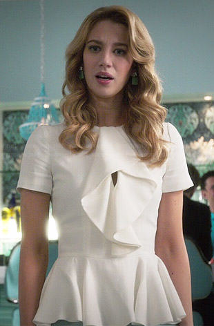 Petra's white ruffled front peplum top on Jane the Virgin