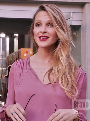 Phoebe's pink long sleeved blouse on Girlfriends Guide to Divorce