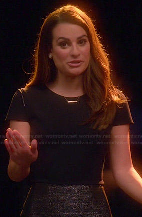 Rachel's black cap sleeve dress with tweed skirt on Glee