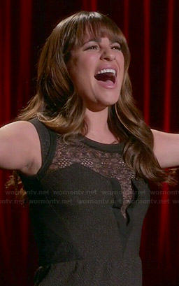 Rachel's black lace inset dress on Glee