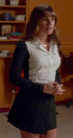 Rachel's black and white colorblock button front shirt and pleated skirt on Glee