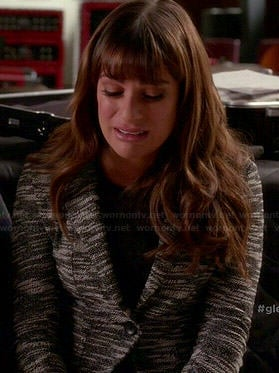 Rachel's black and white tweed blazer on Glee