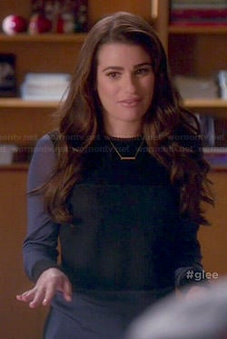 Rachel's blue and black colorblock sweater on Glee