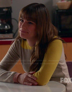 Rachel's beige and yellow colorblock sweater on Glee