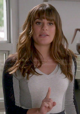 Rachel's grey colorblock sweater with mesh sleeves on Glee