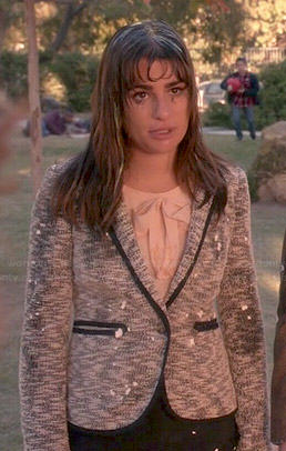 Rachel's grey tweed blazer and pink bow top on Glee