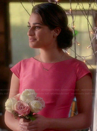 Rachel's pink bridesmaid dress on Glee