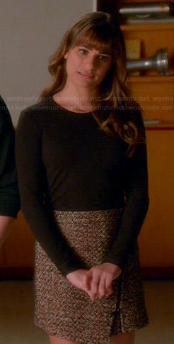 Rachel's black sweater and asymmetric zip skirt on Glee