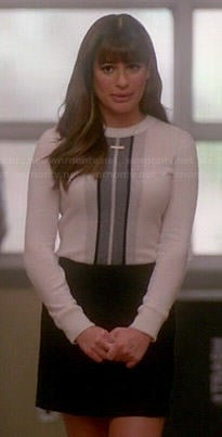 Rachel's white sweater with grey front stripe on Glee