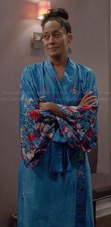 Rainbow's long blue floral robe on Black-ish