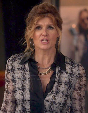Rayna's black and white printed blouse with leather collar on Nashville