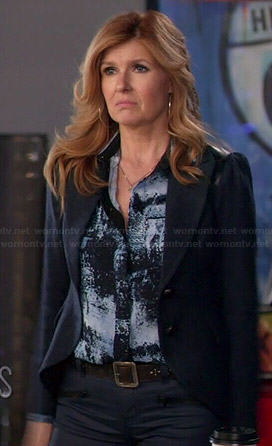 Rayna's blue printed shirt and navy blazer on Nashville