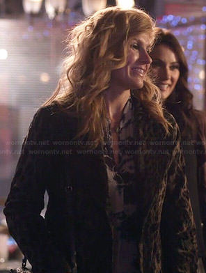 Rayna's tie dyed blouse and leopard print coat on Nashville