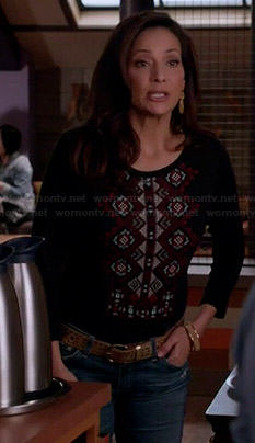 Regina's black embroidered front top on Switched at Birth