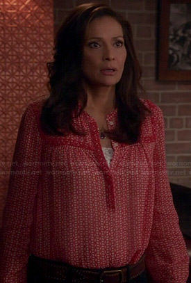Regina's red printed blouse on Switched at Birth