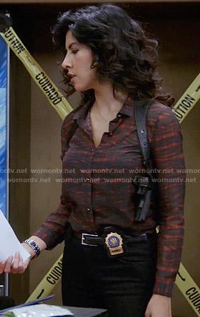 Amy's orange button down shirt on Brooklyn Nine-Nine