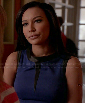 Santana's blue dress with black trim on Glee