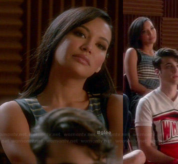 Santana's blue printed front dress on Glee
