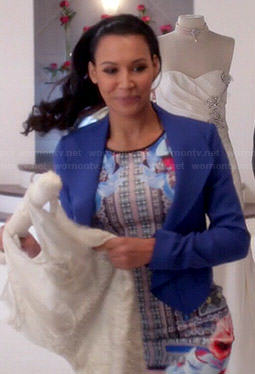 Santana's mixed floral print dress and blue blazer on Glee