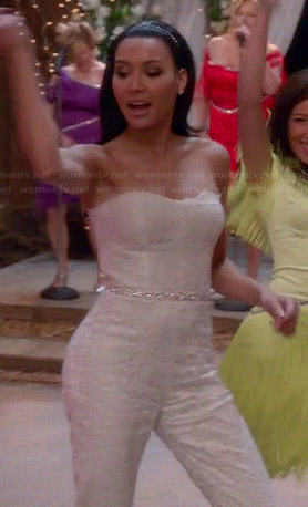 Santana's white lace strapless jumpsuit on Glee