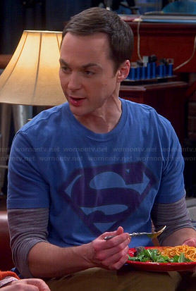 Sheldon's blue faded Superman logo t-shirt on The Big Bang Theory