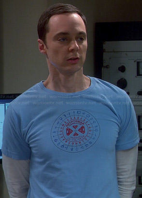 Sheldon's blue Kryptonian Translator tee on The Big Bang Theory
