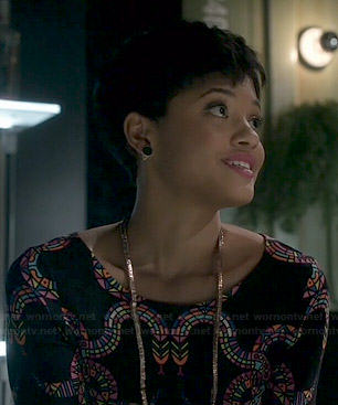 Sophia's black snake print dress on Eye Candy