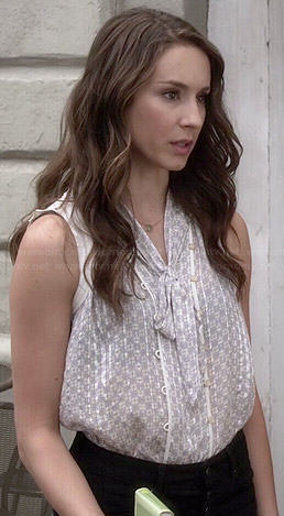 Spencer's grey bow front top and black button fly jeans on Pretty Little Liars