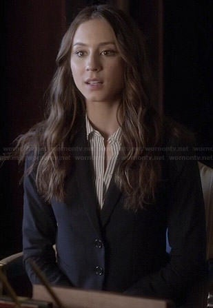 Spencer's striped shirt and navy blazer on Pretty Little Liars