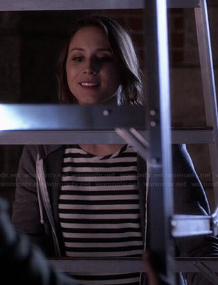 Spencer's striped long sleeve top and grey hoodie on Pretty Little Liars
