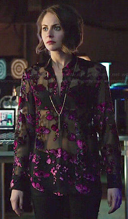 Thea's black and pink sheer floral blouse on Arrow