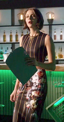 Thea's stripe and floral printed skirt and crop top set on Arrow
