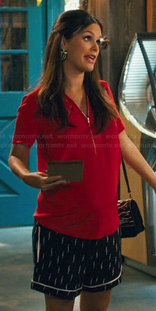 Zoe's black lightning bolt print shorts and red zip front top with embroidery on Hart of Dixie