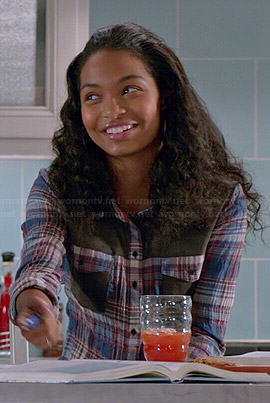 Zoey's plaid shirt with grey panels on Black-ish