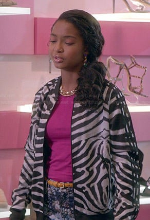 Zoey's zebra striped bomber jacket and floral jeans on Black-ish