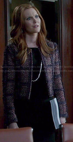 Abby's purple checked tweed jacket on Scandal