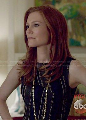 Abby's diagonal striped dress on Scandal