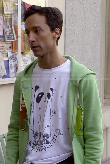 Abed's panda tee and King Kong / Godzilla hoodie on Community